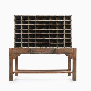 Wooden Postal Sorting Cabinet with 56 Compartments