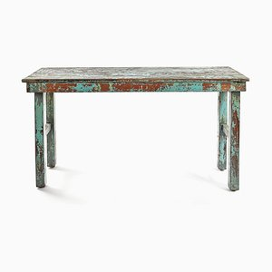 Folding Table in Wood with Blue Patina