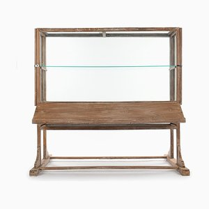 Ceruse Wooden Display Case on Legs