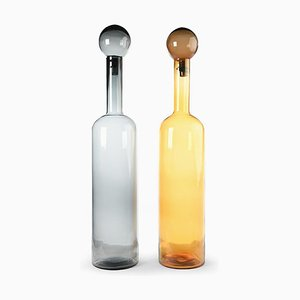 Colored Glass Decanters, Set of 2