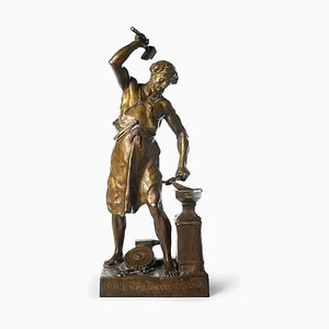 Bronze The Blacksmith Sculpture by Emile Picault