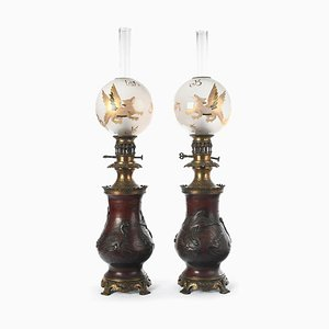 Napoleon III Oil Lamps, Set of 2