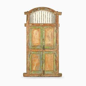 Antike Holztür mit 4 Blättern und Lamellen
