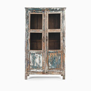 Glass Wardrobe in Patinated Wood