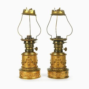 Gagneau Brass Kerosene Lamps with Bronze Lampholder