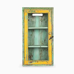 Green and Yellow Patinated Wooden Display Cabinet