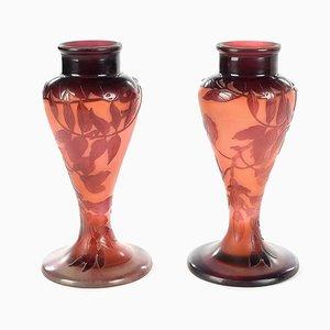 Rote Vasen von Gallé, 2er Set