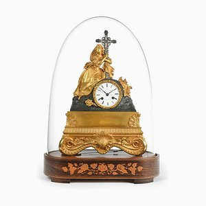 Antique Charles X St. Mary Magdalene Clock Clock under Glass