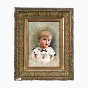 Portrait of a Child Painting on Porcelain