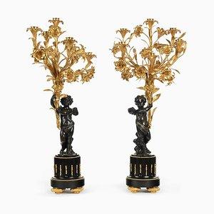 Große Kerzenhalter aus patinierter & vergoldeter Bronze aus 19. Jahrhundert, 2er Set