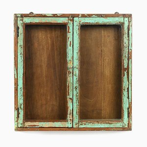 Green Patinated Wooden Display Case