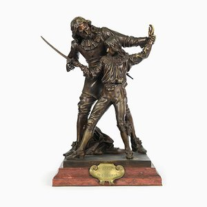 Bronze Sculpture The Fencing Lesson by A. Gaudez, 1880s