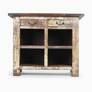 Patinated Wooden Furniture with 4 Compartments and 2 Drawers