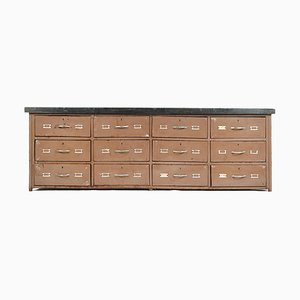 Brown Cabinet with Wooden Top and Metal Drawers
