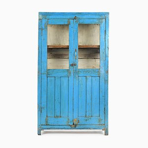 Glass Cabinet in Wood with Blue Patina
