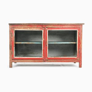 Red and Blue Wooden Display Case