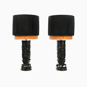 Japanese Bronze Vase Lamps, Set of 2