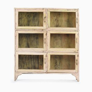 Wooden Showcase with 6 Glass Lockers