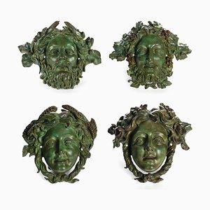 Masques en Bronze, Set de 4