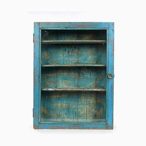 Kleine Blaue Vitrine aus Patiniertem Holz
