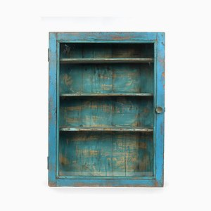 Small Blue Showcase in Patinated Wood