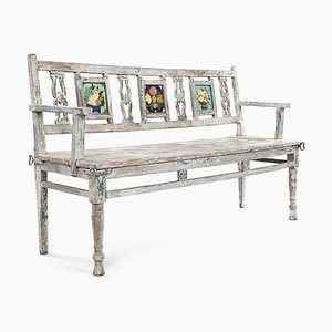 Wooden Bench with 3 Glazed Tiles
