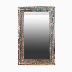 Holz Spiegel mit Blauer Patina