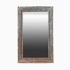 Wooden Mirror with Blue Patina