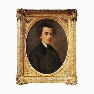 Gemälde von einem Mann mit weißem Kragen, 1850er