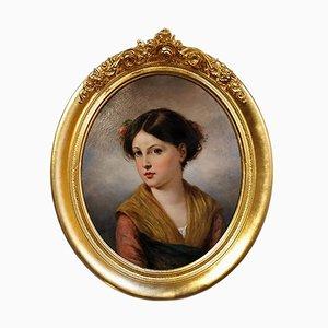 Malerei, die eine Jungfrau darstellt, die eine Blume, 1850s trägt