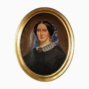 Gemälde Eine Frau mit floralem Kopfschmuck, 1850er Jahre