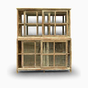 Large Wooden Glass Cabinet