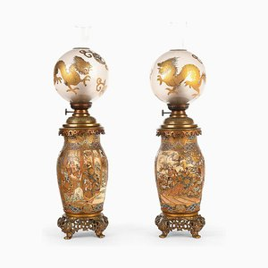 Satsuma Bronze and Earthenware Oil Lamps with Decorations, Set of 2