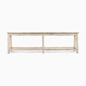 Antike weiße Holzbank