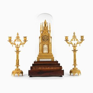 Rosewood Cathedral Clock & Branched Candleholders, Set of 3