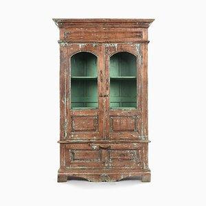 Glasvitrine aus Holz mit Türkisfarbener Patina