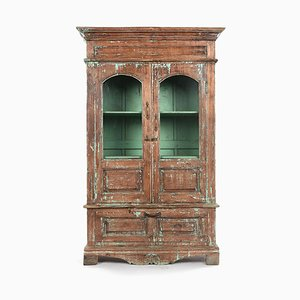 Wooden Glass Cabinet with Turquoise Patina