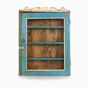 Vitrine aus Holz mit Blauer Patina
