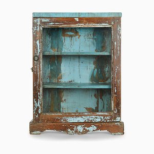 Wooden Showcase with Blue Patina