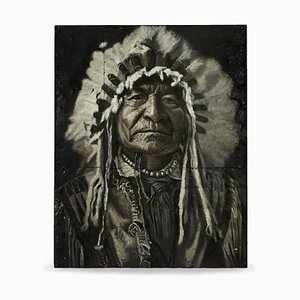 Painting on Sheet Metal Representing a Native American