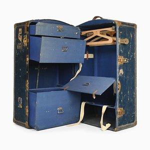 Baúl de viaje en azul de madera, años 40