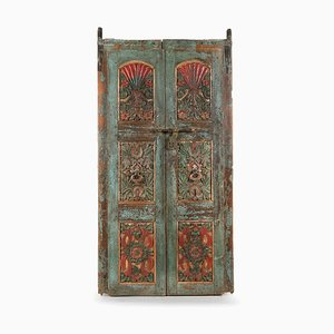 Vintage Weathered Polychrome Wooden Door