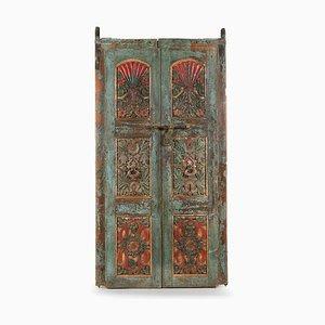 Vintage Weathered Polychrome Wooden Door