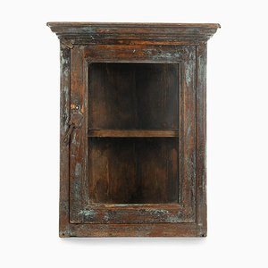 Vintage Patinated Wooden Display Cabinet