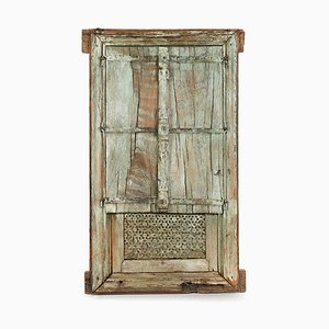 Vintage Patinated Wooden Room Divider
