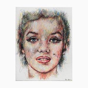 Porträt von Marilyn Monroe Stift und Posca auf Leinwand von Hom Nguyen