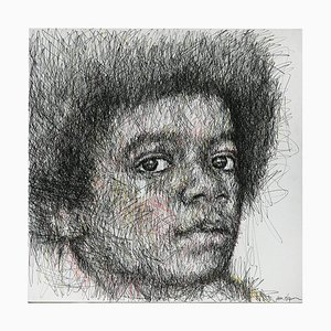 Portrait of Michael Jackson Charcoal and Posca on Canvas by Hom Nguyen
