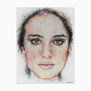 Portrait of Natalie Portman Charcoal and Posca on Canvas by Hom Nguyen