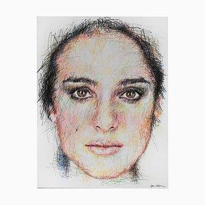 Portrait of Natalie Portman Charcoal and Posca on Canvas von Hom Nguyen