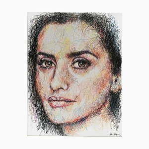 Portrait of Penelope Cruz Charcoal and Posca on Canvas by Hom Nguyen